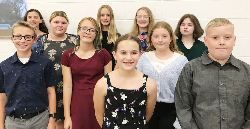 Durant junior high students included (front from left) Skyler Wright and Kale Dean; second row, Royce Richman, Jocelynn Richardson and Jenna Lowder-Ingle; back row, Rebeka Lerma, Avery Jones, Ray Lynn Schlapkohl, Ally Schumacher and Lillian Cheney.
