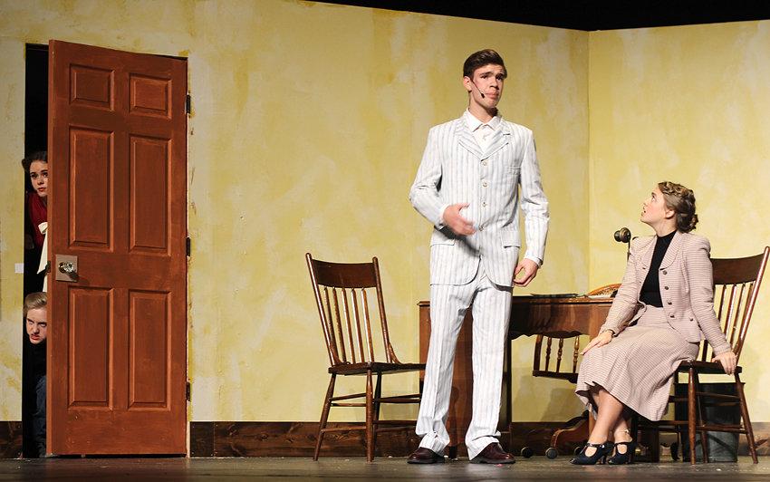 Clarice (Rachel Sorensen) and Desmond (Michael Kintigh) spy on David (Thomas McCarthy) and Bertha (Grace Hamann).