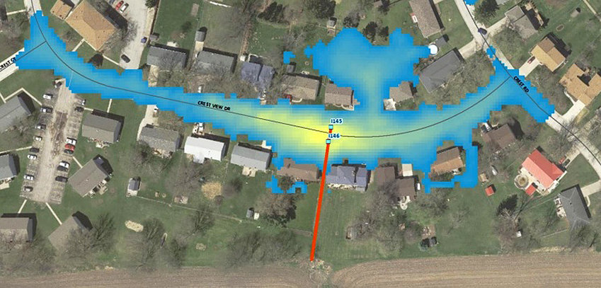 A new Park View flooding study shows how a 100-year rain would leave up to two feet of water over Crestview Drive. Scott County Engineer Angie Kersten shared this image with supervisors Monday, and said the entire study will be presented to the county board.