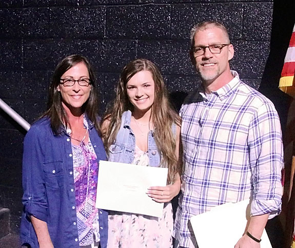 Sandy and Steffan Nass presented the inaugural $500 Francis Nass Memorial Scholarship to Ellie Stonskas.