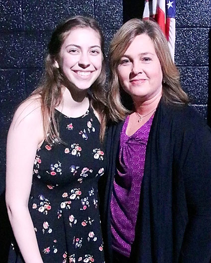 NSEF board member Susan Blaskovich presented the $1,000 Wilford Family Scholarship to Natalie Mitchell.