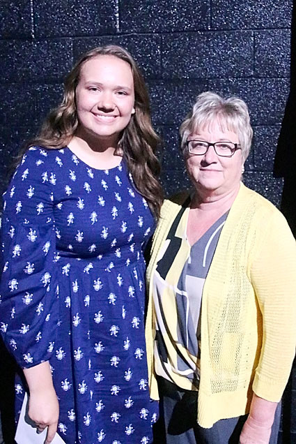 NSEF board member Debbie Shannon presented the $1,000 Mitchell Hayes Memorial Scholarship to Aurora Gentz.