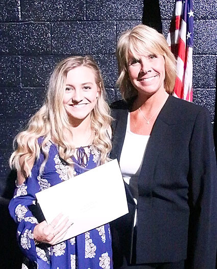 NSEF board member Tracy Lindaman presented the $1,000 Dr. Tim Dose Memorial Scholarship to Stephanie Black.