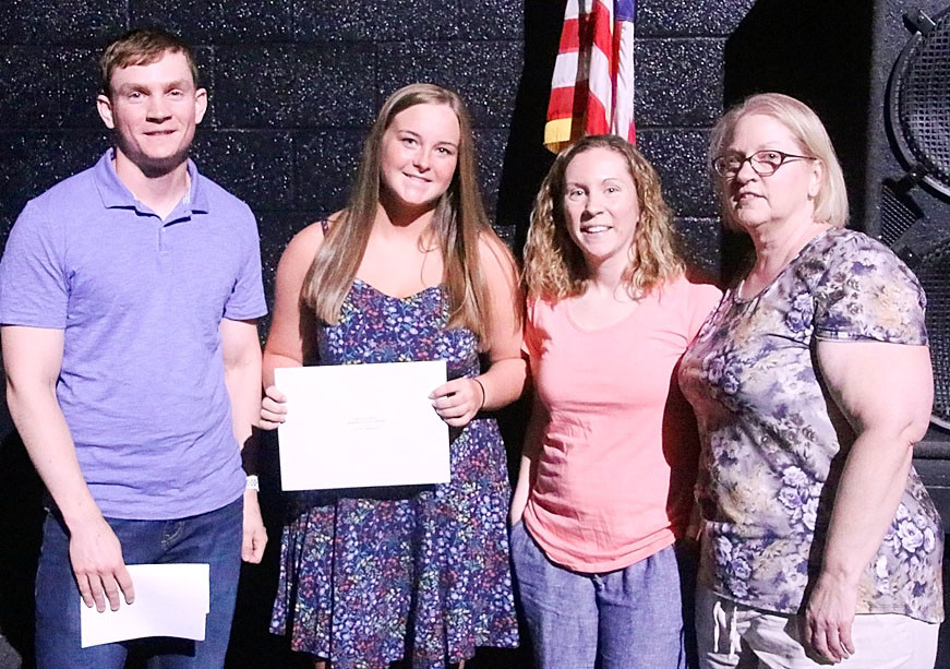 Katie Finnegan was awarded the $250 Michael Reed  Memorial Scholarship. Pictured are (l-r) Jacob Reed, Finnegan, Nicki Janoski and Deanna Reed.
