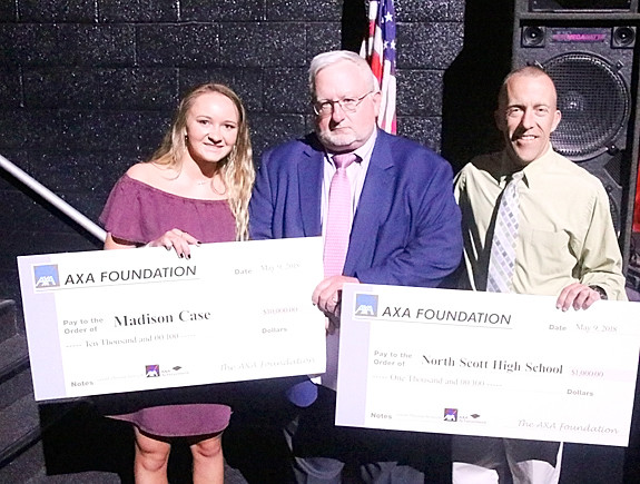 John Mack presented Madison Case with the $10,000 AXA Achievement Scholarship. Shane Knoche accepted a $1,000 donation to the school.
