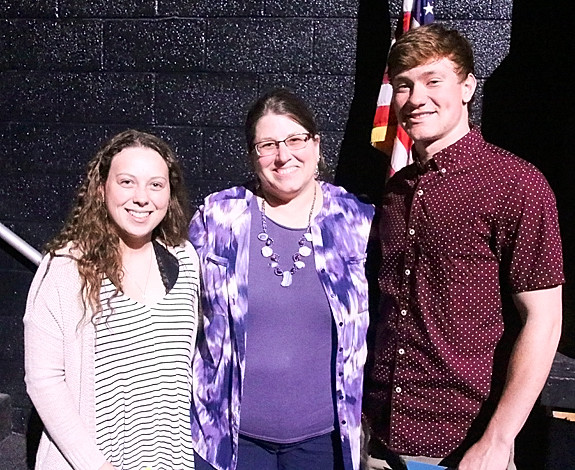 Joni Kuehl-Schneider presented $500 Long Grove Civic League Scholarships to Mabel Carstens and Tony Barreca.