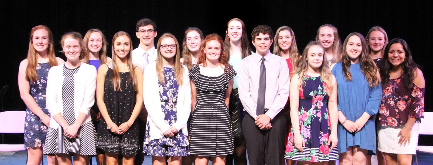 Sophomore inductees: Paige Blaskovich, Grace Bjustrom , Brenna Bullock , Paige Durant, Zachary Campbell, Chloe Engelbrecht,  Haley Howes, Emily Kundel, Emma Hughes, Tommy Keeshan, Georgia Nissen, Grace Sampson, Emma Powell, Megan Triplett, Coryn Wilson, Juliana Schadel  (not pictured:  Hannah Belk, Nathan Hoft, Cameron LaPage)