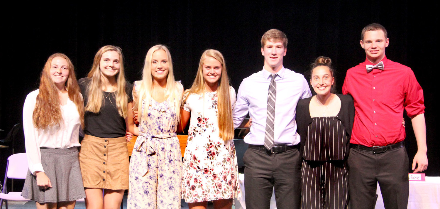 Junior inductees: Chloe Engelkes, Erin Gansemer, Dana Gehrls, Kami Nagle, Nile McLaughlin, Rylie Rucker, Nick Upmeyer (not pictured: Conner Ambrosy)