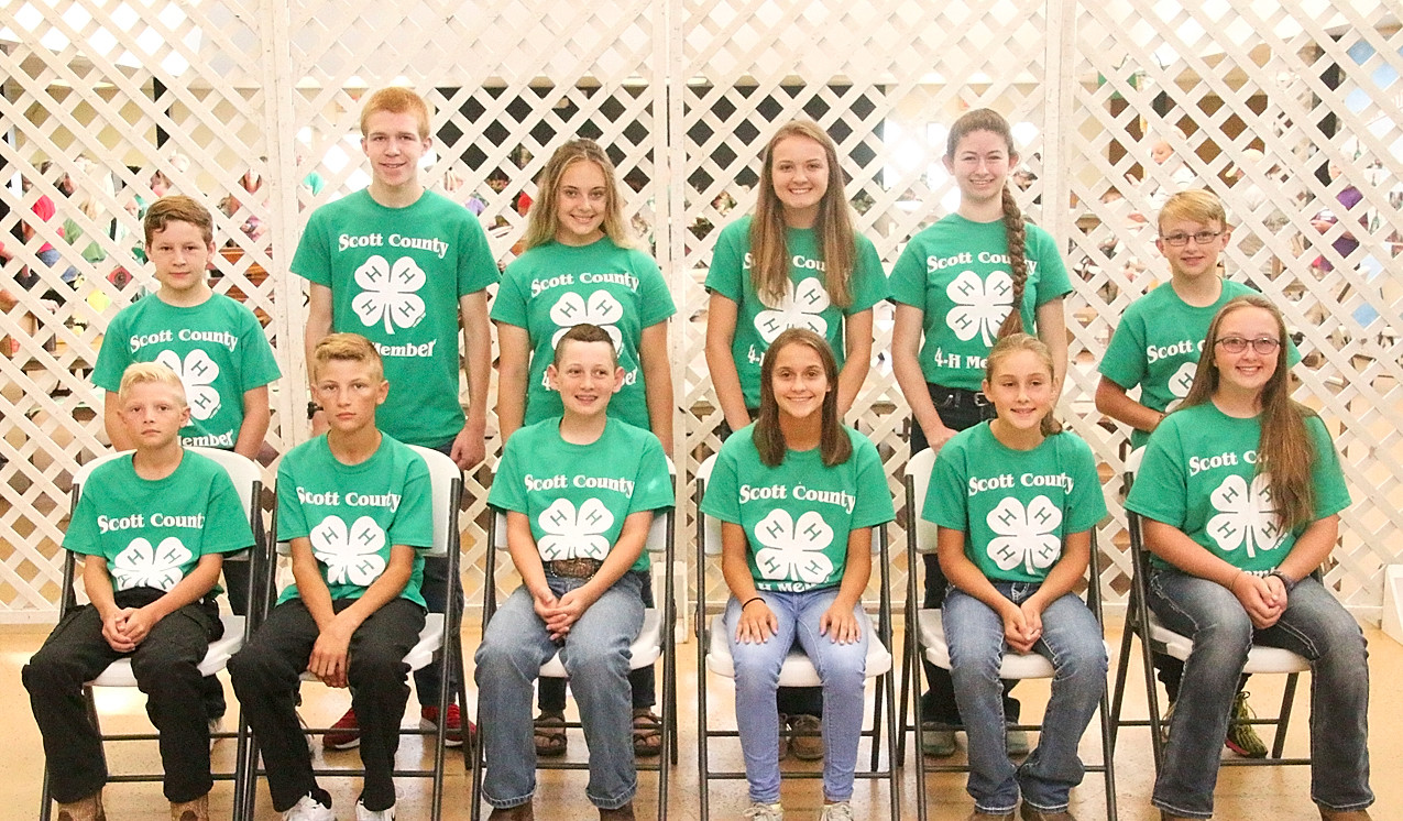 These Scott County 4-H'ers will be displaying their Communications projects at the State Fair. Front (l-r): Peyton Pilgrim, Colton Pilgrim, Owen Powell, Abigaile Paper, Lainey Wall and Katelyn Kiefer. Back: Ian Keeney, Anton Kordick, Grace Sampson, Chloe Engelbrecht, Sophia Pike and Caleb Kiefer.