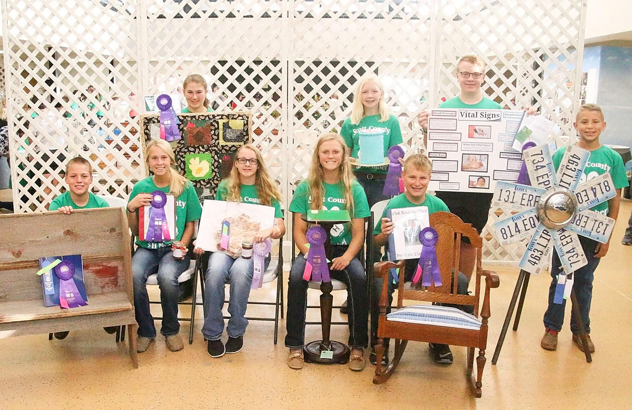 These Scott County 4-H'ers will be displaying their Family and Consumer Science projects at the State Fair. Front (l-r): Brady Daufeldt, Kira Schult, Michelle Hepler, Kamryn Meyer and Cale Meyer. Back: Annie Hollonbeck, Emma Gravert and Dylan Engelbrecht.