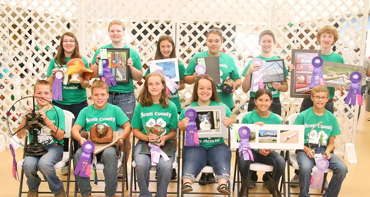 These Scott County 4-H'ers will be displaying their Creative Arts projects at the State Fair. Front (l-r): Brady Daufeldt, Bryce Daufeldt, Maureen Campbell, Lauren Lanum, Addison Miller and Caden Meyer. Back: Emma Bedeian, Caitlynn Bauer, Sydney McCaw, Laci Roberts, Sophia Pike and Mitchell Mess.