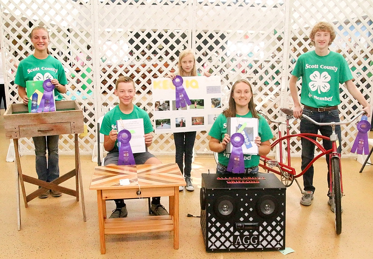 These Scott County 4-H'ers earned Champion ribbons for their Science, Mechanics and Technology projects. From left: Elizabeth Daufeldt, Nolan Engelbrecht, Ava Duncan, Lauren Wall and Mitchell Mess.