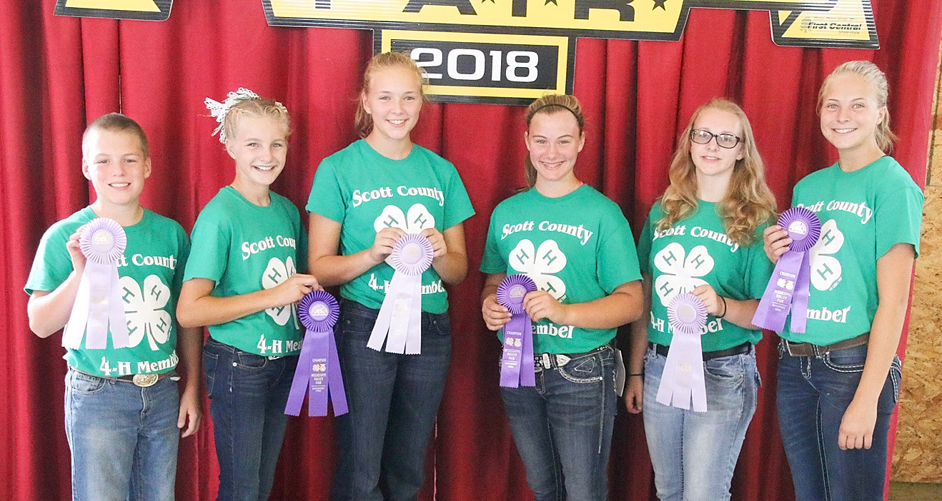 Taking top honors in the 4-H Meat Goat Showmanship competition were (l-r): Brady Daufeldt (Jr. Reserve), Hannah Rogers (Jr. Champion), Peyton Buesing (Int. Reserve), Fayeth Henningsen (Int. Champion), Michelle Helper (Sr. Reserve) and Makenna Buesing (Sr. Champion).