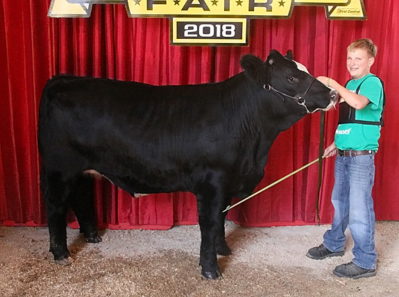 Cale Claussen showed the Reserve Champion Simmental.