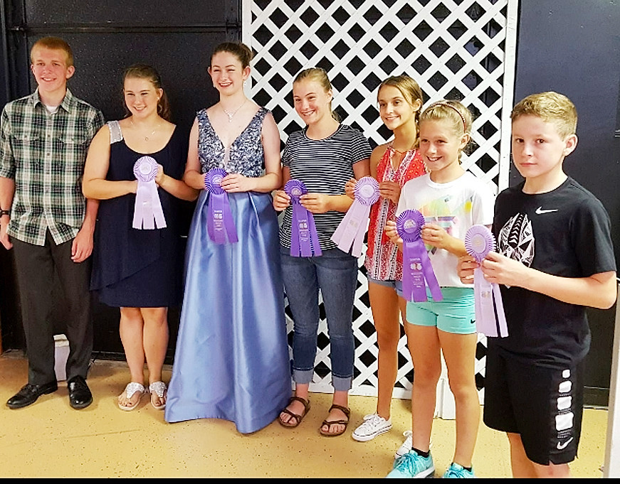 Clothing Selection winners included (l-r): Anton Kordick (State Fair), Annie Hollonbeck (Sr. Reserve), Sophia Pike (Sr. Champion and State Fair), Fayeth Henningsen (Int. Champion), Abigail Paper (Int. Reserve), Delaney Engler (Jr. Champion) and  Ian Keeney (Jr. Reserve).