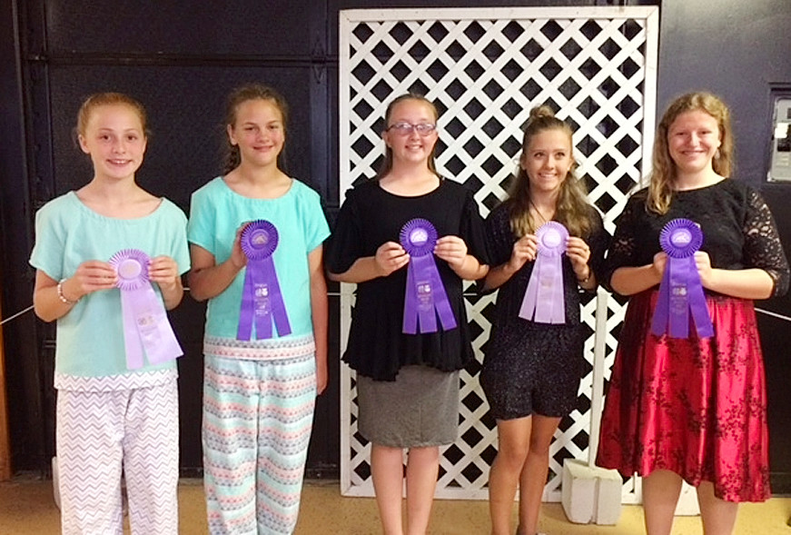 Fashion Revue winners included (l-r): Sarah Blake (Jr. Reserve), Rachel Ehlers (Jr. Champion), Katelyn Kiefer (Int. Champion), Kyrnan Liske-Rochholz Sr. Reserve and State Fair), Lauren Keeney (Sr. Champion and State Fair).