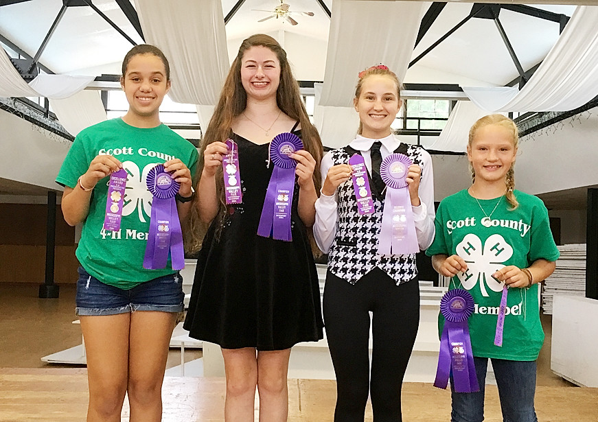 These Scott County 4-H'ers took top honors in Share the Fun. They performed during the 4-H Fashion Revue. From left: Adrianna Blackwell (Intermediate champion and State Fair participant), Sophia Pike (Senior Champion and State Fair participant), Josie Meyer (Senior Reserve and State Fair participant), and Greta Brus (Junior Champion). Grace Sampson received an Excellence award in the Senior Division and both Forrest Bernet and Julia Phillips received Merit awards in the Junior Division.