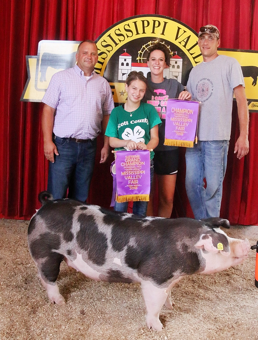 Bella Buesing showed the Grand Champion Supreme with this Champion Purebred Gilt. She's pictured with Judge Ty Egnell (left) and her parents, Dana and Justin.