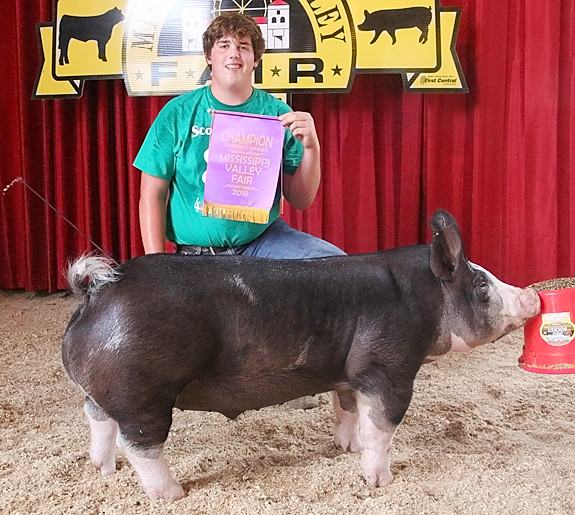 Joe Lilienthal showed the Reserve Supreme Champion with this Champion Purebred Market Hog.