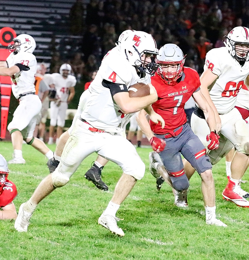 Defense was the key to success for North Scott Friday night, and senior Collin Lewis was in the middle of the fray, chasing down Calvin Harris all over the field.