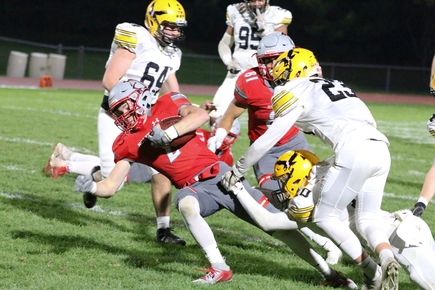 Jacob Porth rushed for 77 yards in 12 carries to pace the NS offense.