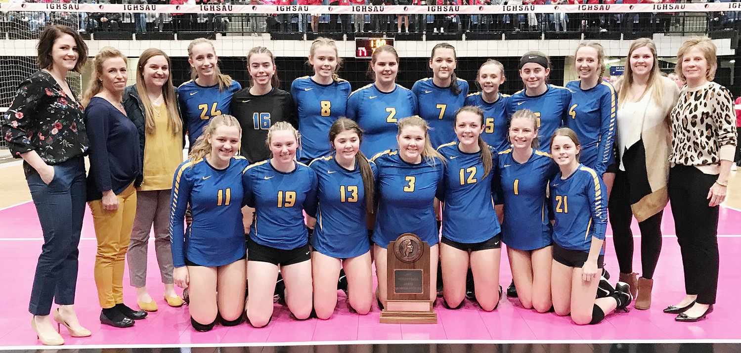 The Wilton volleyball team played in the Class 2A state tournament in Cedar Rapids Nov. 13. The Beavers were the No. 3 seed and were upset by No. 6 seeded Clarion-Goldfield-Dows in quarterfinal play. This was the fifth ever state volleyball trip for Wilton. Pictured above with the trophy are: front from left, Olivia Oveson, Peyton Souhrada, Alexa Garvin, Taylor Garvin, Ella Caffery, Kelsey Drake and Courtney Bishop; back row, assistant coach Kayla Byington, assistant coach Angela Voss Dann, assistant coach Kelly Jo Jannings, Kiley Langley, Mallory Lange, Jozalynn Zaiser, McKenzie Pallischeck, Joann Martin, Taylor Drayfahl, Lauren Thompson, Ellie Hugunin, assistant coach Carlee Grunder and head coach Brenda Grunder.