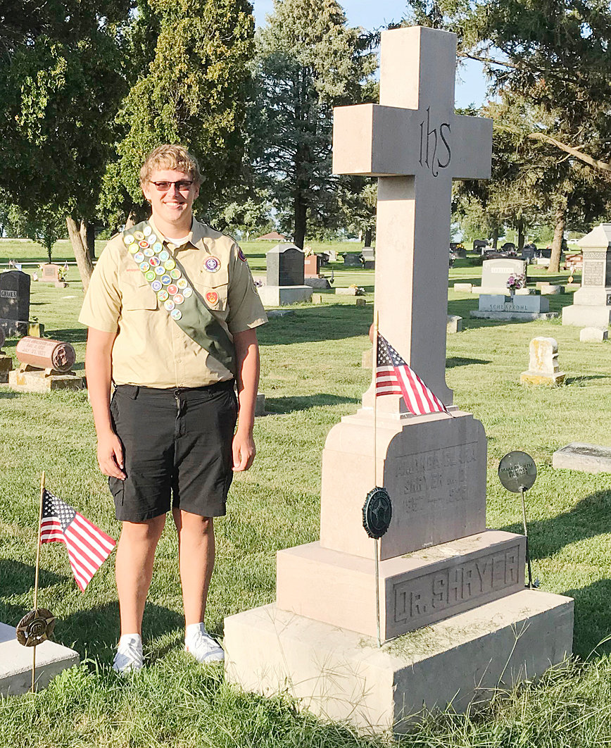 Andrew Schemmel of Durant earned his Eagle Scout ranking.  Schemmel has been a member of Durant Boy Scout Troop 153 for seven years. His Eagle Scout project was restoring the Shryer family headstone. Schemmel was first approached about the project by the Durant American Legion, which is named after J.L. Shryer. The project required removing the headstone footings, re-pouring the cement footings, cleaning all the headstones related to the family and remounting them. The overall project took around 80 hours to complete. Andrew is the son of Dean and Susan Schemmel and now is a student at the University of Iowa.