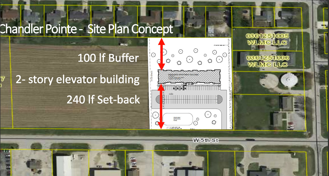 A site map look at the upcoming Chandler Pointe site.