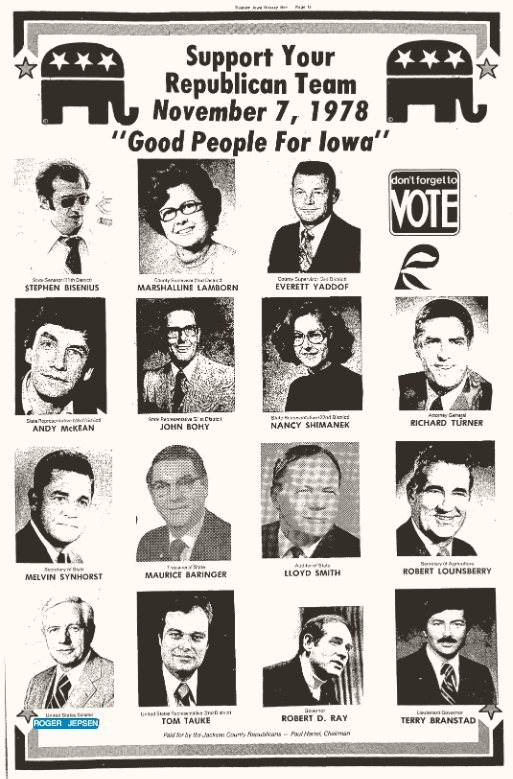 A 1978 NSP ad featuring Roger Jepsen and all of that year's Republican slate.