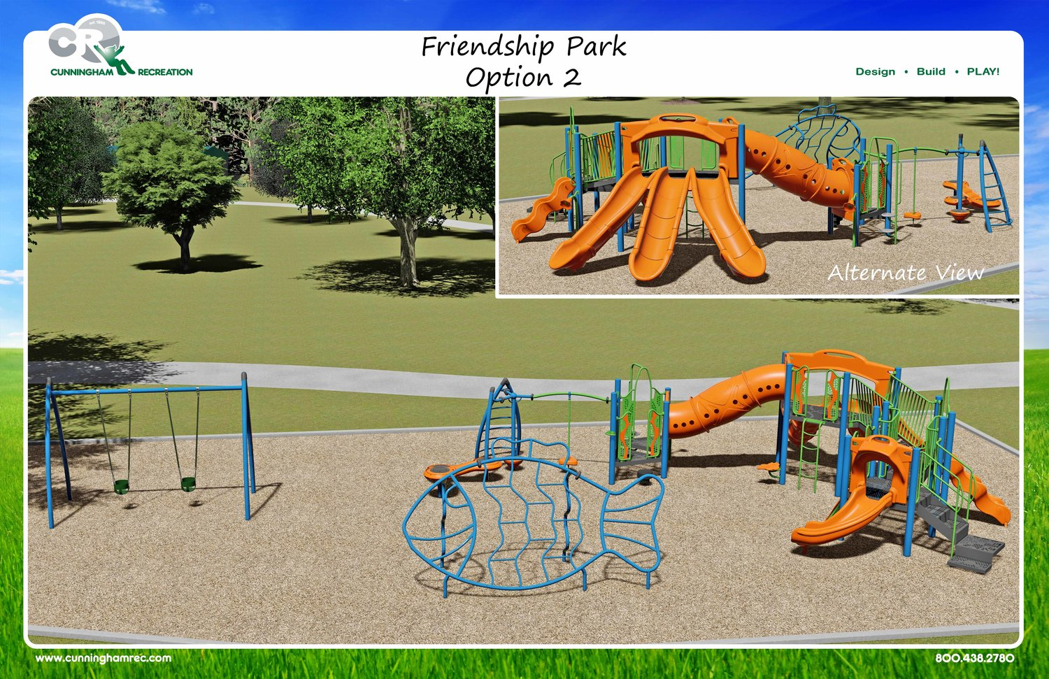 A rendition of the new playground equipment coming to Friendship Park