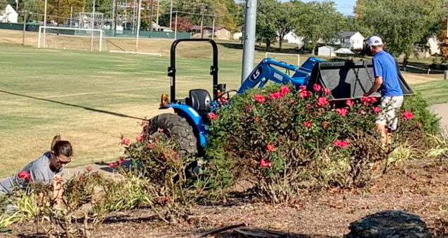 11 members of the POSL boards cleaned the landscaping at the Perryville soccer complex.