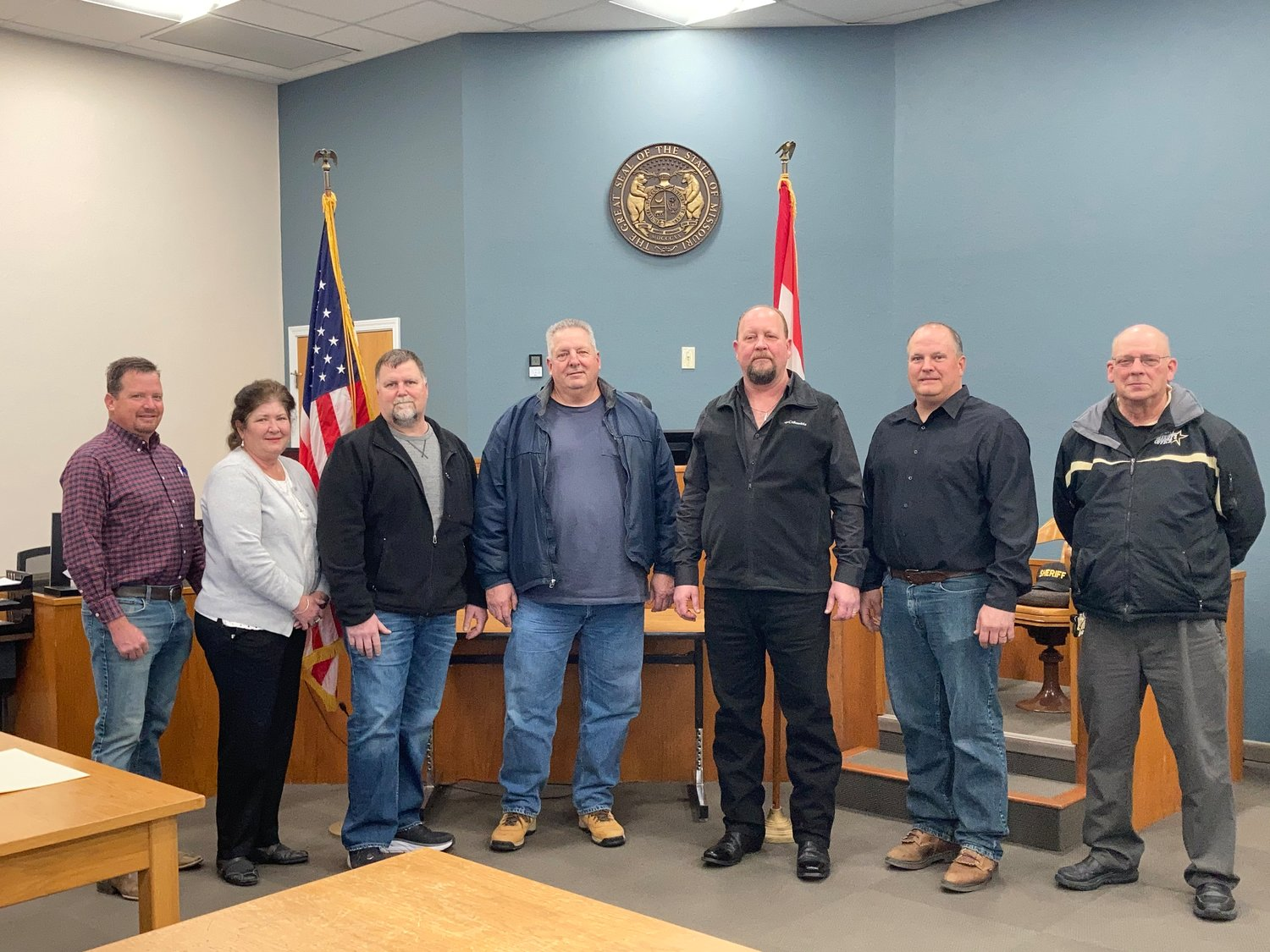 Officials were sworn into office Dec. 31 by County Clerk Jared Kutz. From left, are, County Surveyor Tim Baer, Public Administrator Tammy Tarrillion, County Assessor Charlie Triller, County Coroner Bill Bohnert, District 1 commissioner Jay Wengert, District 2 commissioner Keith Hoehn and Perry County Sheriff Gary Schaaf.