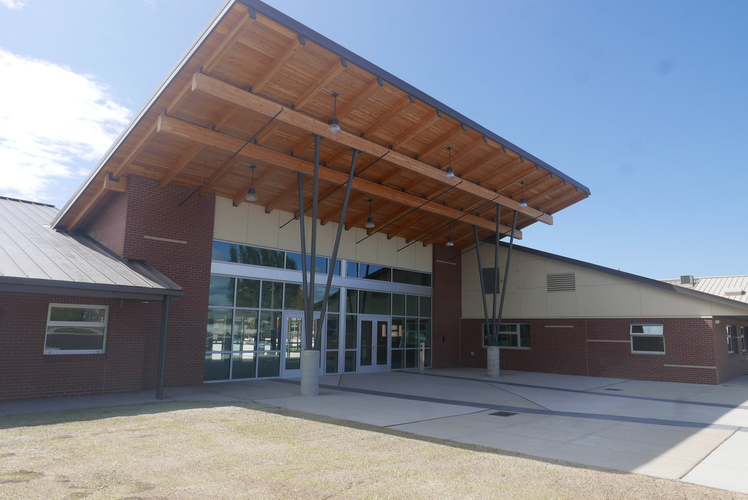 The front entrance of the newly remodeled Blaine High School, at 1055 H Street.