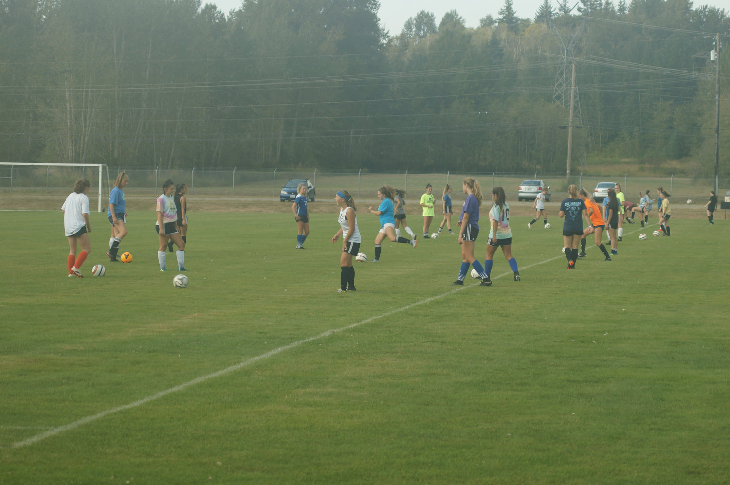 Blaine girls soccer teams warm up before practice on August 30. Thirty-one signed up to play soccer at Blaine High School this season, the biggest turnout in at least three years.