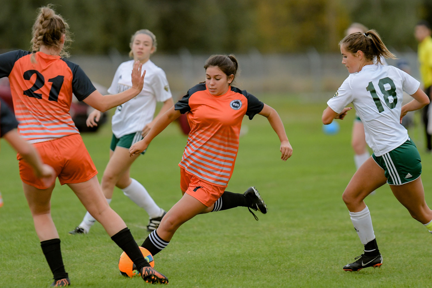 Blaine midfielder Gabriela Blanco in an October 7 game against Sehome. Blanco scored Blaine's lone goal in a 3–1 loss against Burlington-Edison at home on October 28.