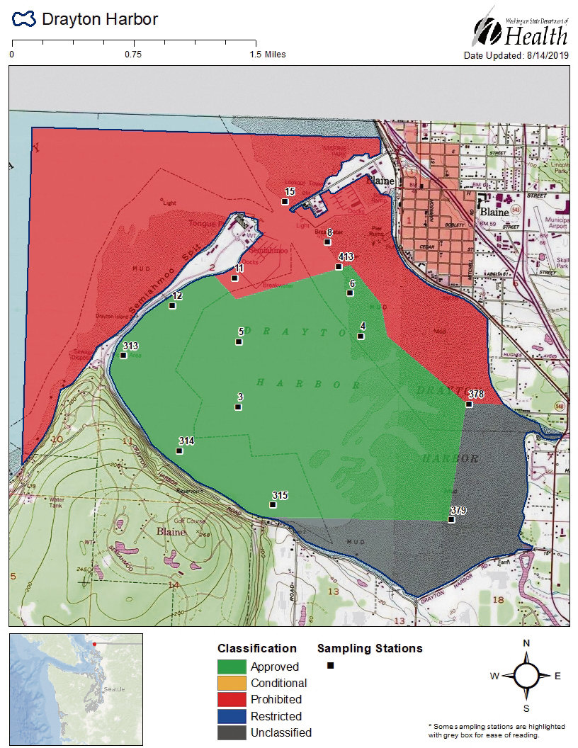 The Washington State Department of Health's current classification map for commercial shellfish harvesting in Drayton Harbor. The map also includes the locations of the department's marine water sampling stations in the harbor.