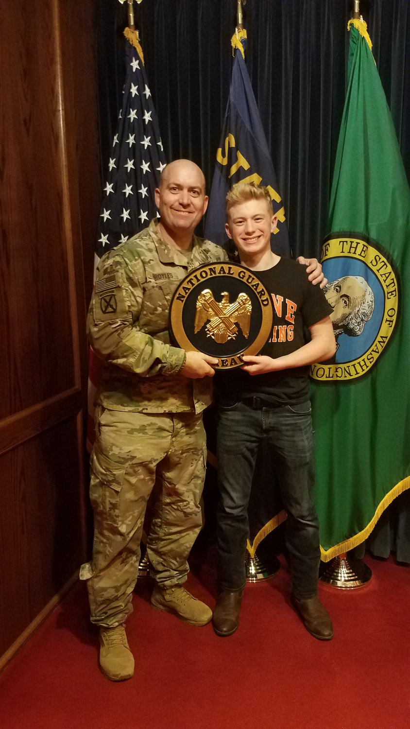 Jeb Broyles was recently sworn into the same battalion as his father, LTC Craig Broyles, who commands the 3rd Battalion 161 Infantry Regiment of the Washington Army National Guard.