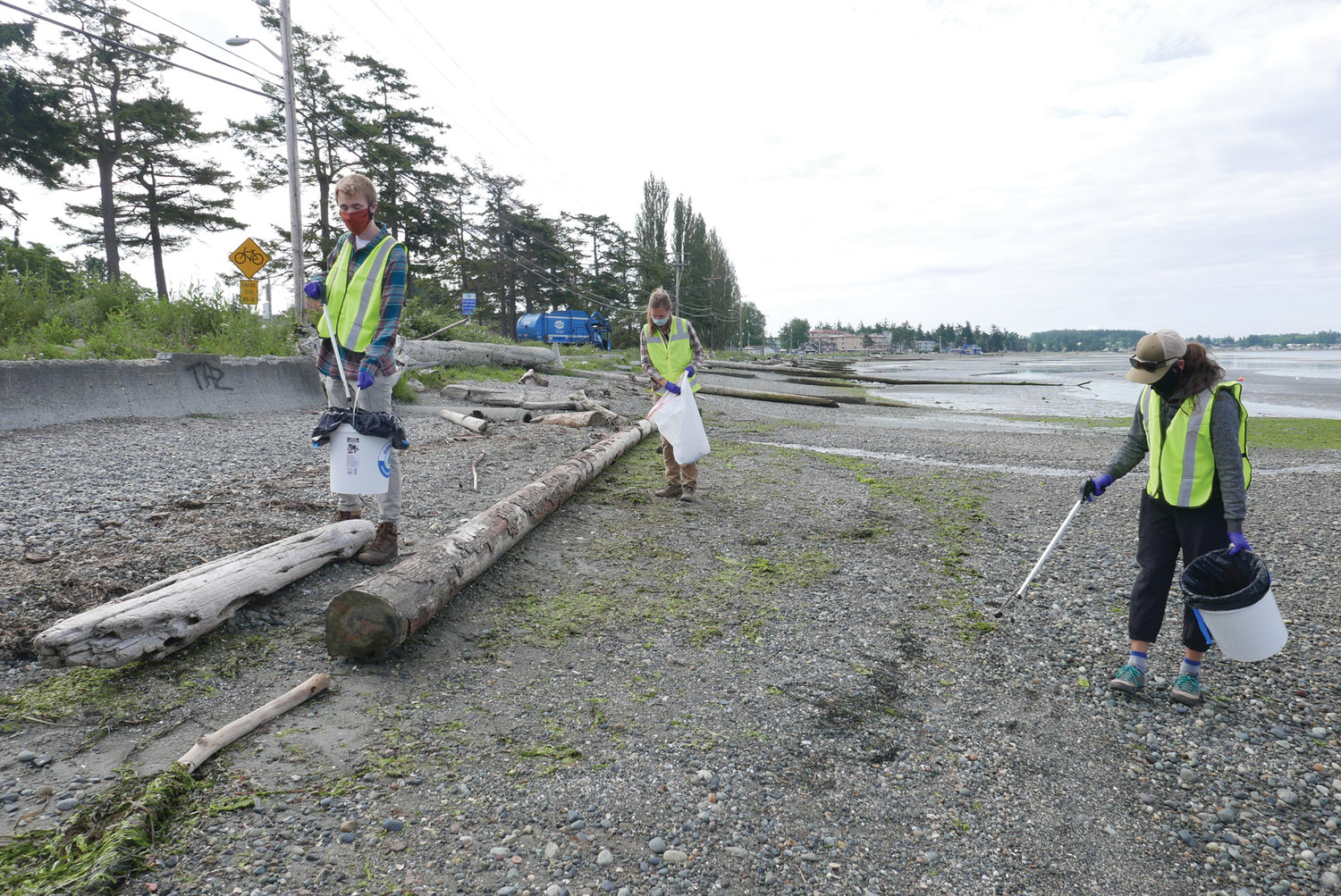 Volunteers picked up trash and debris at Birch Bay after the Fourth of July. Pictured above, a team from the Birch Bay Watershed & Aquatic Resources Management District pickup trash on July 6. From l., Lars Olson, Whatcom County stormwater education specialist; Holly Faulstich, Whatcom County stormwater programs specialist; and Aneka Sweeney, Whatcom Conservation District's education and outreach coordinator.