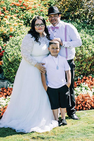 Angela Renee Andriani, 32, with son Preston, 7, and husband Alex Andriani, 31, at Peace Arch Park on August 15. Before the wedding, Angela lived in Abbotsford, B.C., and Alex lived in Bellingham.