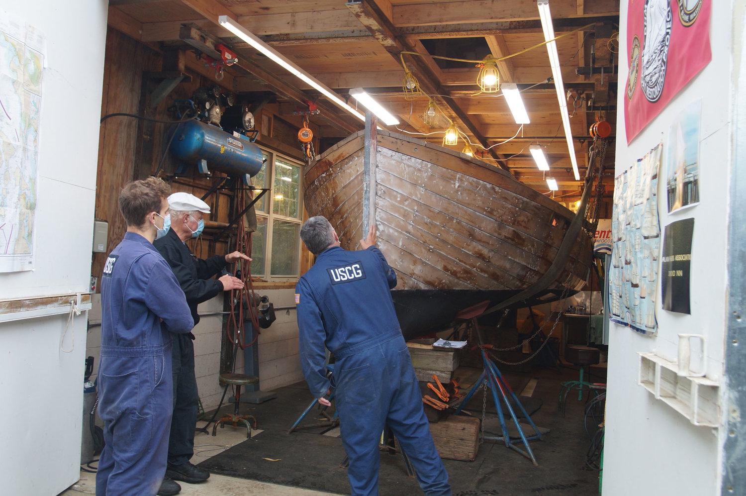 On September 23, the U.S. Coast Guard inspected Drayton Harbor Maritime's 114-year-old Bristol Bay sailboat that the nonprofit is working to rebuild.