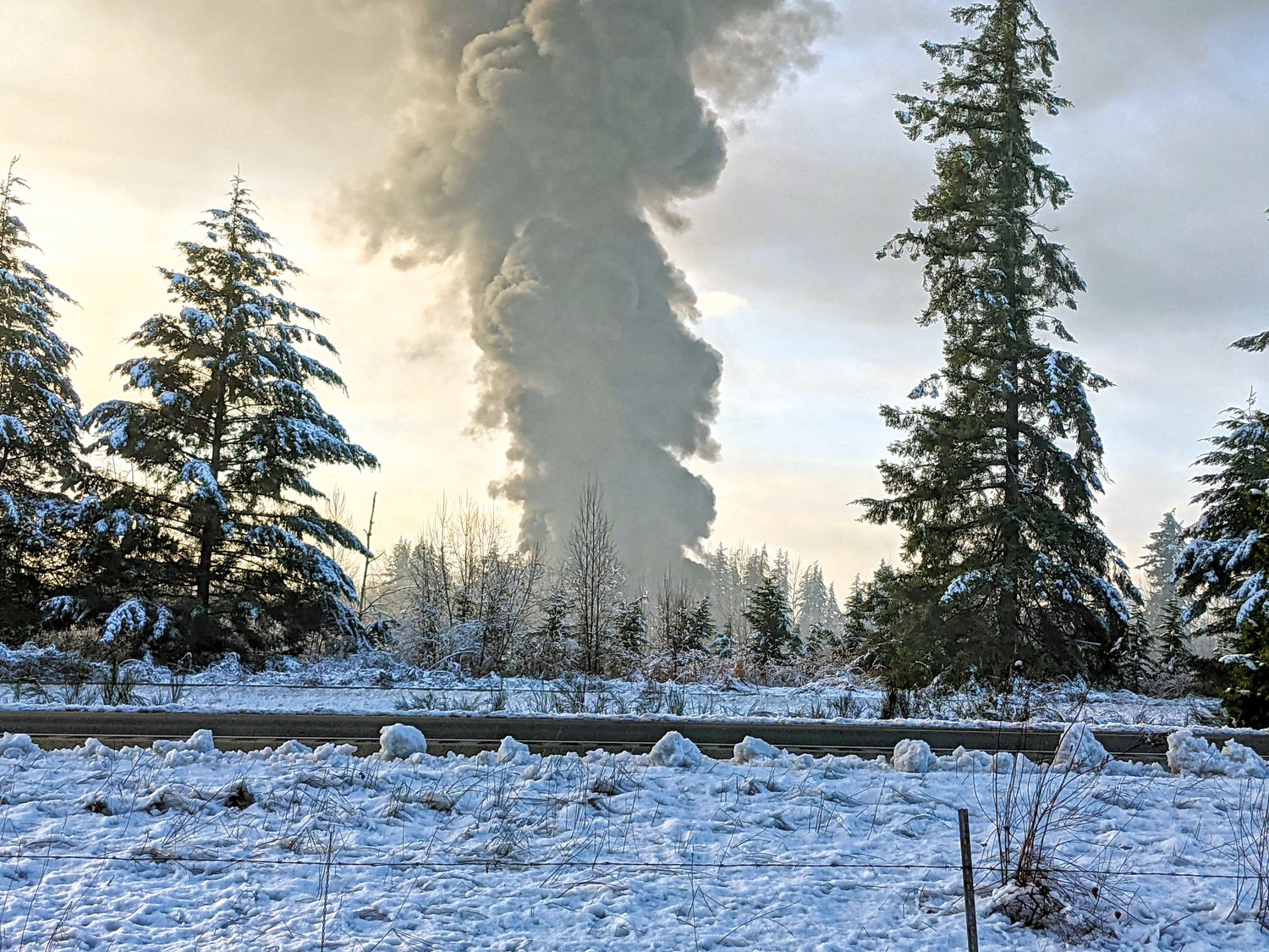 The Custer train derailment sent a plume of smoke into the air on December 22.