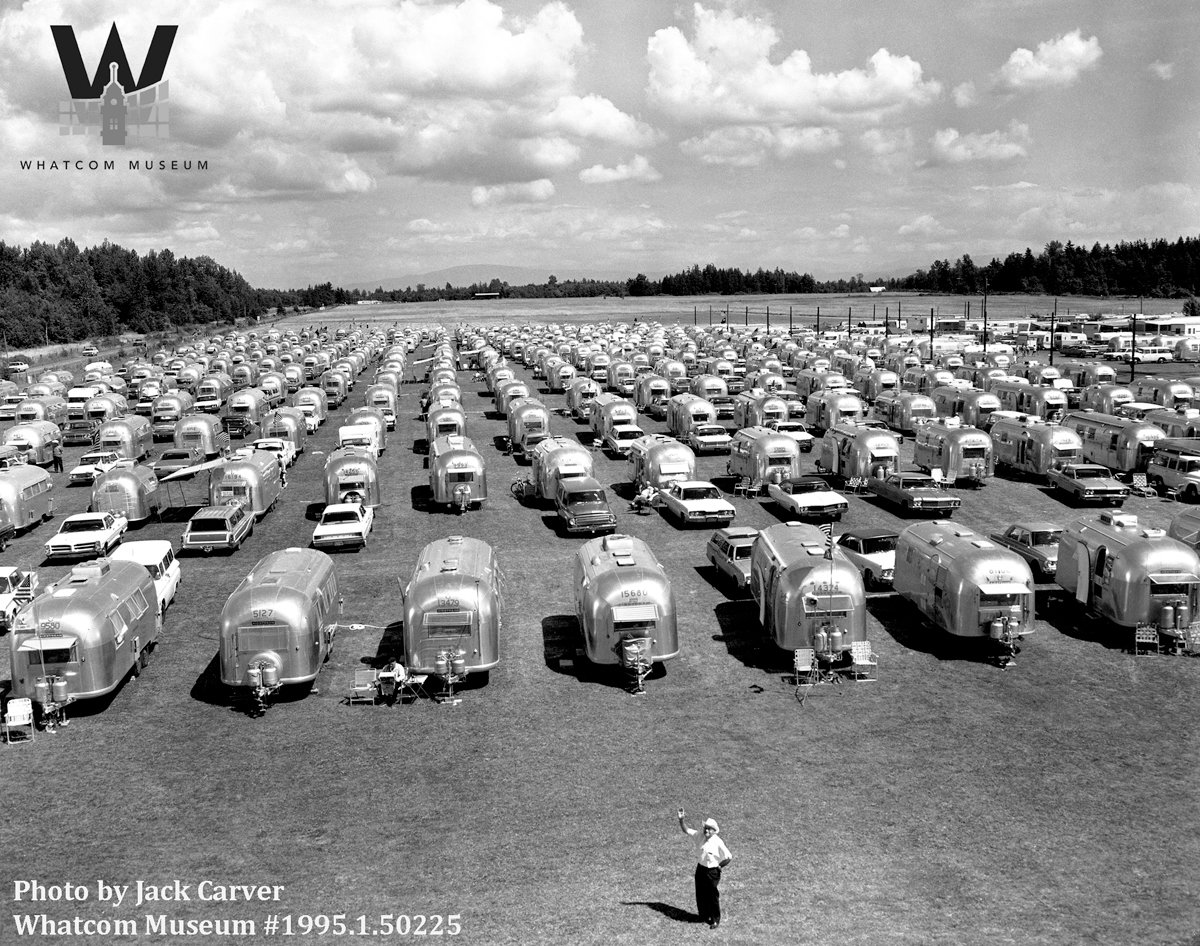Nearly 400 trailers settle in at Birch Bay as part of Wally Byam's Caribou Airstream Caravan, July 1967. A Caribou Airstream Caravan organized by Wally Byam resulted in nearly 400 trailers coming to Birch Bay during July 1967. Byam built the world's first Airstream travel trailer in 1929, before founding the company Airstream in 1931, according to Airstream's website.