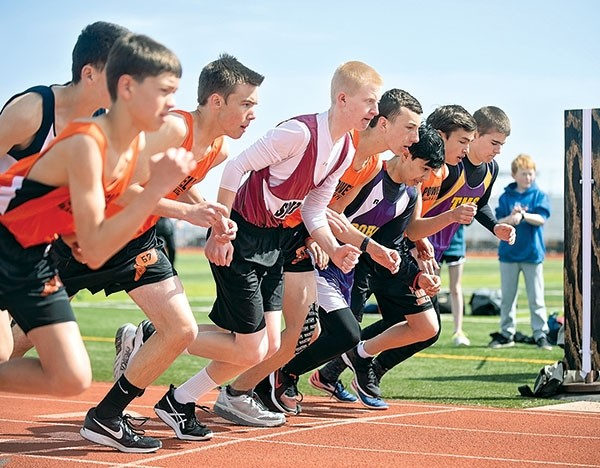 With the sound of the starting gun, Powell Middle School mile runners (from left) Ethan Bartholomew, Jace Bohlman, Ben Whitlock and Riley Schiller spring from the starting line at the Powell Athletic Roundtable meet earlier this month.