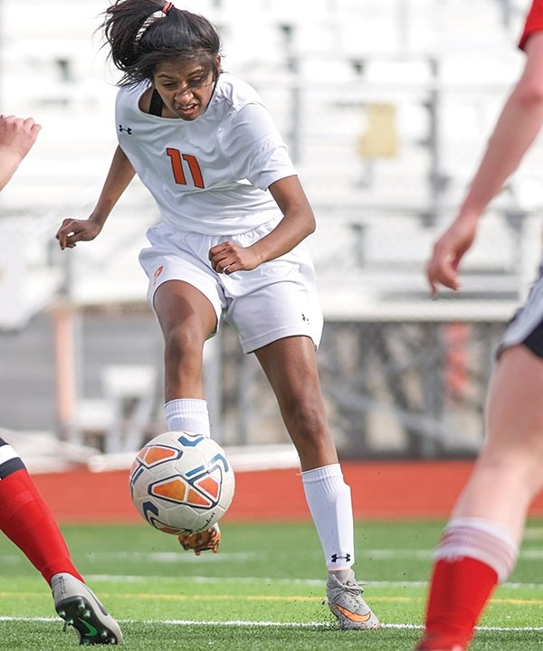 Lady Panther Jaya Smith scores a goal against Riverton in a 3-1 win last week. Powell upset No. 2 Worland Tuesday afternoon 5-0 in Worland, with Smith scoring a pair of goals.