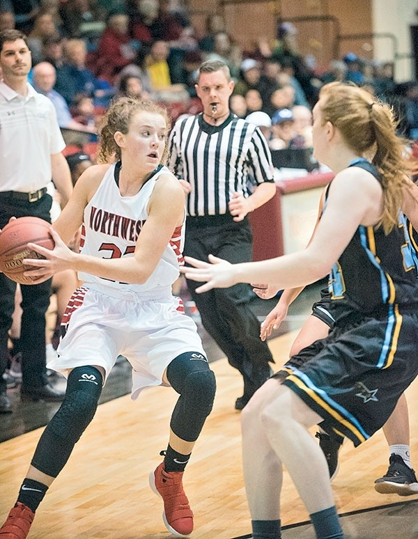 Trapper sophomore Kira Marlow looks to pass during the home game against the Sheridan Generals earlier this season.