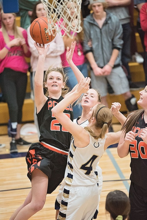 PHS senior Aubrie Stenerson elevates for a shot and draws a foul against the Fillies Friday night in Cody. Stenerson went a perfect 8-for-8 at the free throw line.