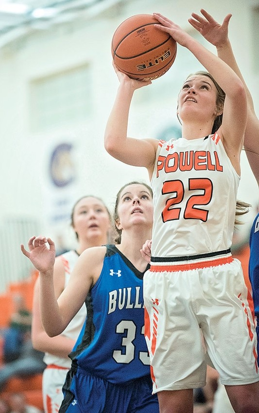 Powell High School senior Aubrie Stenerson puts up a jump shot against the Lovell Lady Bulldogs last week.