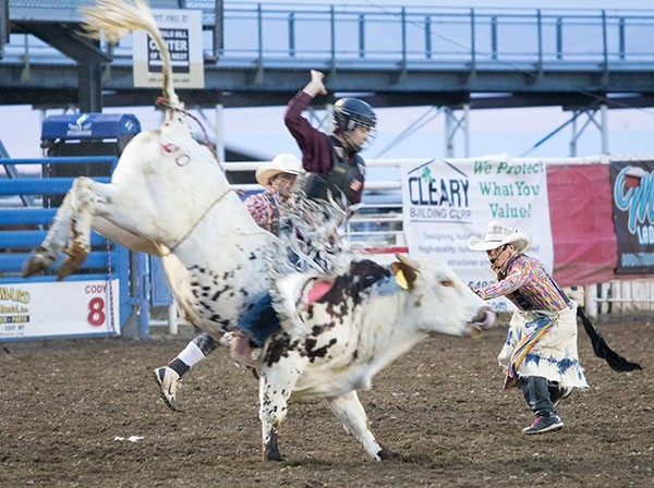 Casen Gines bullfights at the Cody Nite Rodeo last summer. Casen has been invited to be a rodeo clown at the Junior National Finals Rodeo in Las Vegas.