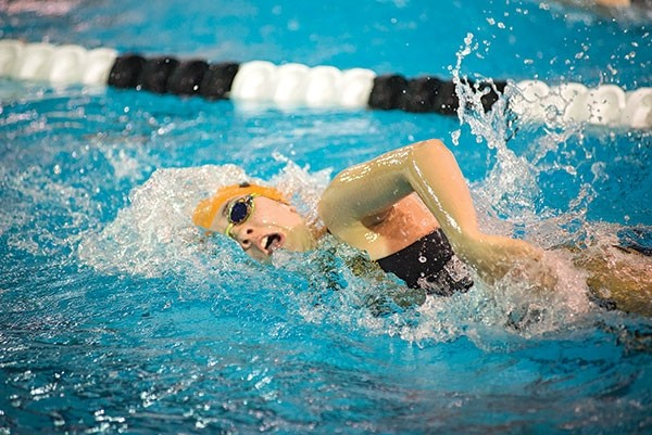 Powell High School sophomore Anna Fuller swims to a sixth place finish in the 500 freestyle at the 3A State Swim and Dive Championships in Gillette on Friday.