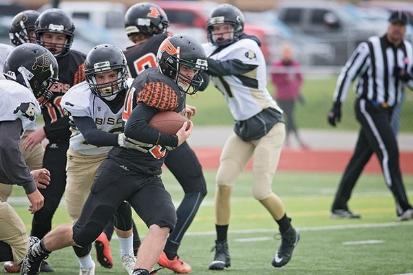 Powell Panthers JV running back Kadden Abraham fights for extra yardage in a game against Buffalo earlier this season. The JV squad finished its short season with a 2-2 record.